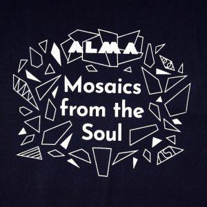 graphic image of ALMA Black Canvas Tote, White Design (detail)